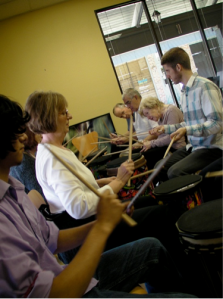 Sammy Foster, who instructs the Drum Core class at the Center for Music Therapy. Photo by: Megan Schaefer