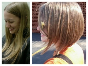 Before and after Kristen Garner's hair donation