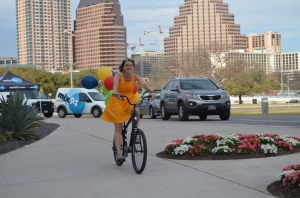 """The """"girl on the bike"""" was used in advertising campaigns throughout the year for Amplify Austin."""