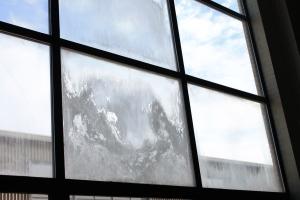 Foggy windows show evidence of humidity.