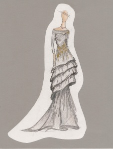 "Senior Meagan Klafehn's sketch of her bridal gown ""Jezzie."""
