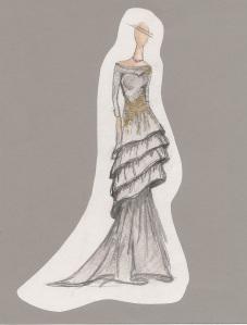 """Senior Meagan Klafehn's sketch of her bridal gown """"Jezzie."""""""