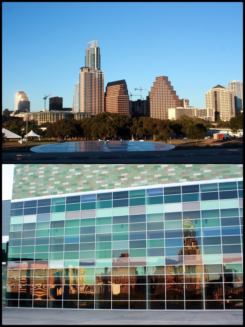 The top photo depicts the Austin skyline from the lawn of the Long Center. The bottom photo depicts the skyline reflected from the Long Center's walls. Photo courtesy of Hannah Vickers