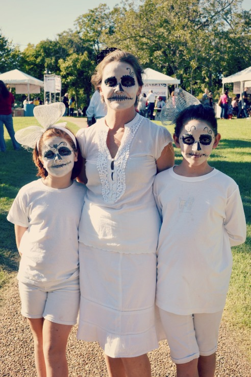 Elena, Meaghan, and Natalie are bone-chillingly beautiful in their festive skull make-ups.