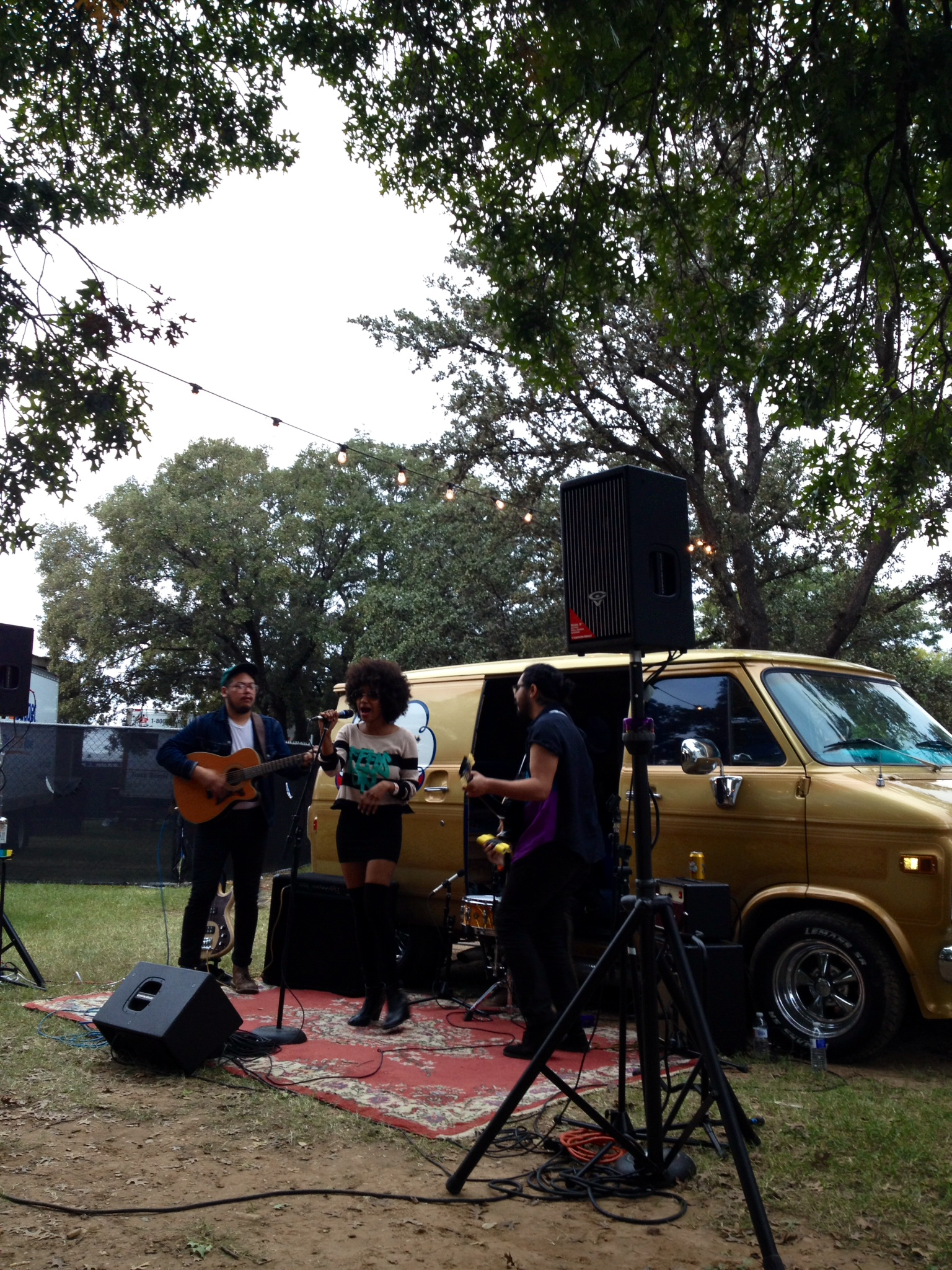 The TonTons play a set in front of the Shiner Gold bus for the FFF Fest attendees backstage in the Homies Lounge.
