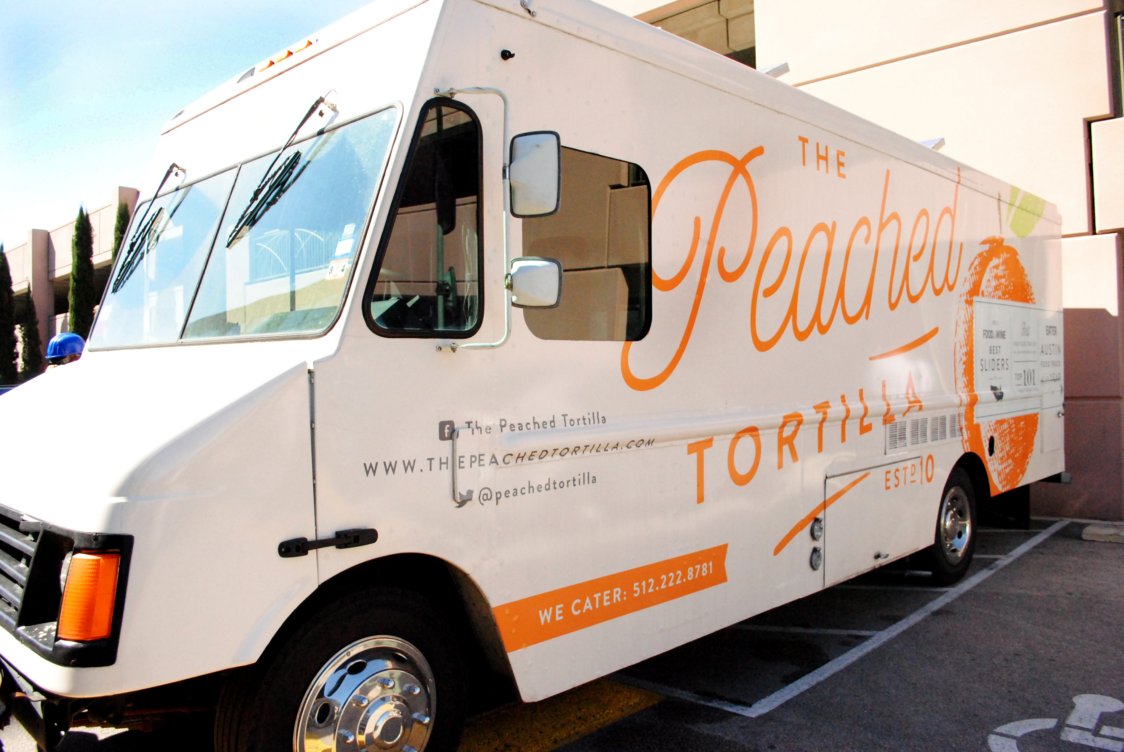 The Peached Tortilla serving up Asian-southern fusion tacos and sliders at lunchtime. Since the truck opened in 2010, it's been consistently voted one of the best food trailers in Austin and the country. (2011- Eater Austin Best Food Truck of the Year, 2012 Food & Wine Best Sliders in the US//2012 Austin Food Blogger Alliance Best New Food Trailer, 2013 The Daily Meal Top 101 Food Trucks in the US.)