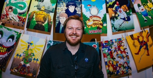 Artist Devin Kraft of Cheshire Cat Art shows off his work, mostly inspired by characters from Studio Ghibli, Sherlock, Adventure Time, Marvel, Nintendo and others.