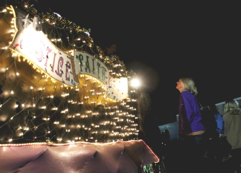 Lisa Babin, Shreveport resident, attends the float loading party. This family tradition unites old friends each year.
