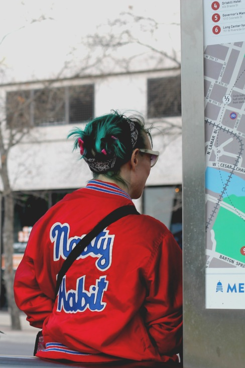Many SXSW attendees sported dyed hair and modern takes on vintage athletic wear.