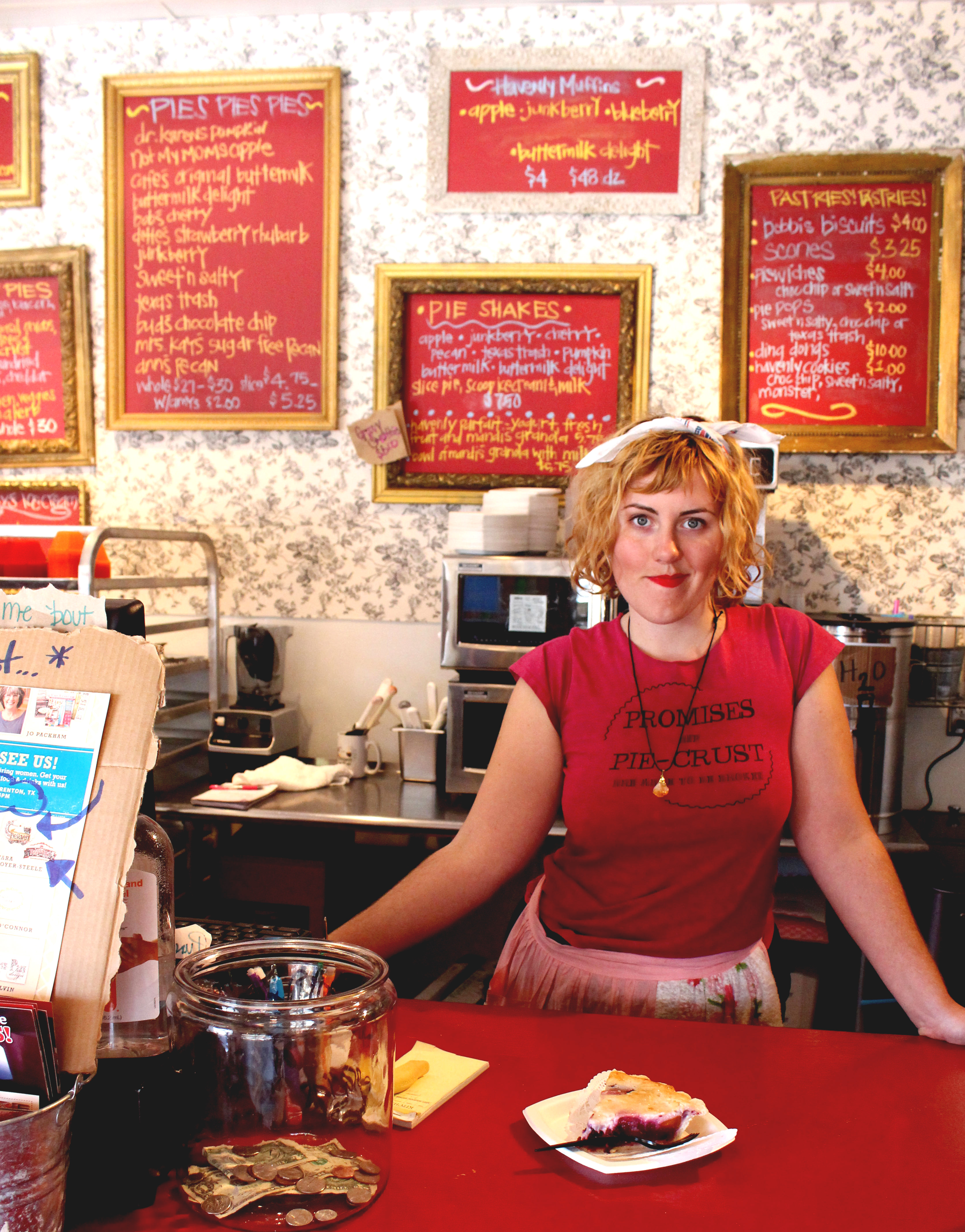 Manager Caroline DeBrahl stands in her usual spot behind the counter of Royer's Pie Haven.