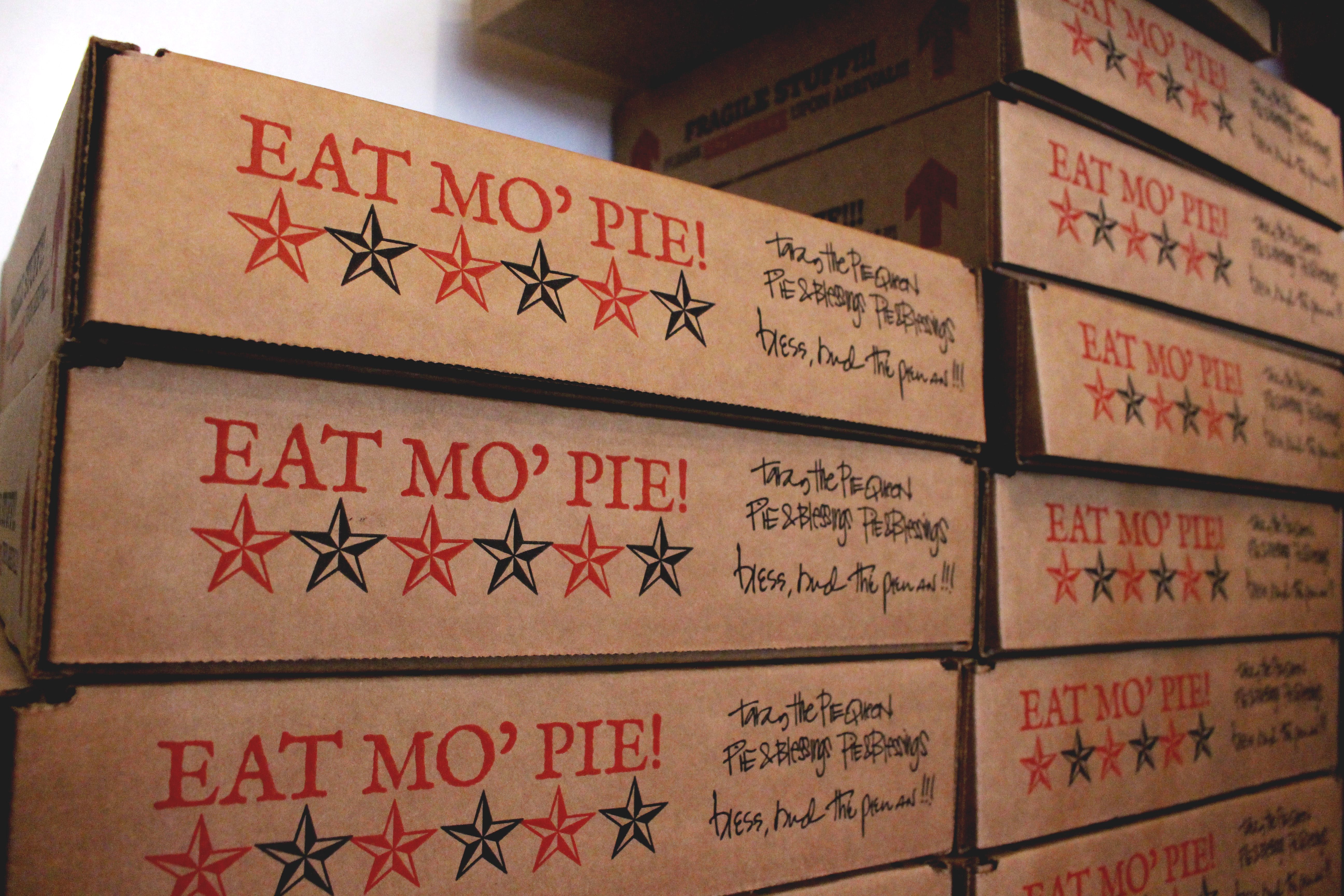 Stacks on stacks, Royer's Pie Haven ends up with towers of empty pie boxes by the end of each workday.