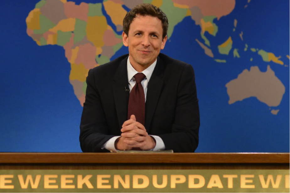 Seth Meyers on SNL's The Weekend Update. Photo courtesy of hollywood.com