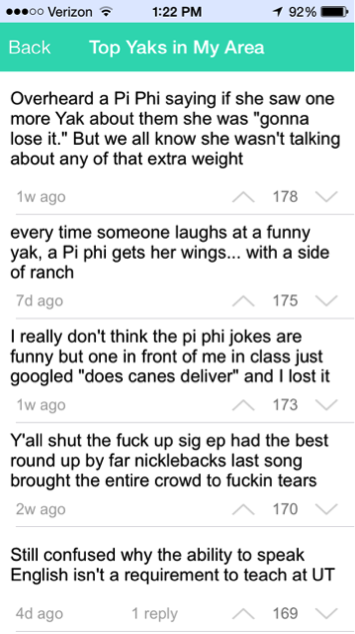 Many of the posts to the Yik Yak app specifically target members of the Greek system.