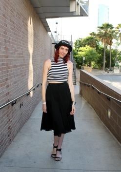 Austin street style blogger Shelley Neuman struts her stuff outside of Austin Music Hall.
