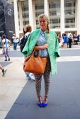 Blogger Paige Arminta plays with colors in a jacquard-weave H&M jacket and Steve Madden heels. @paige_arminta