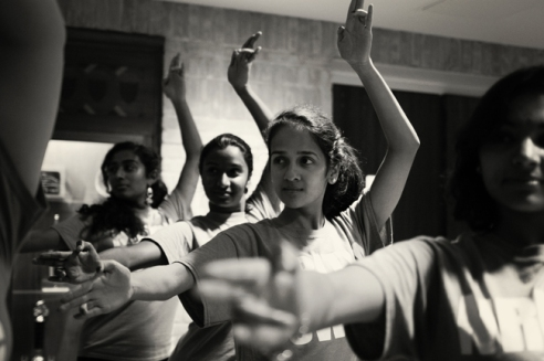 Mitali Sathaye, who is co-caption of Nritya Sangam dance troupe, teaches new steps to her fellow dancers.