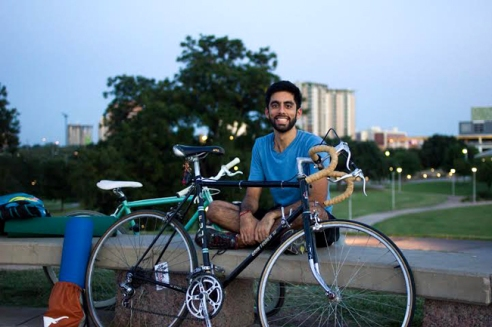 Neel Bhan, a UT student and frequent yoga rider, waits for the yoga ride to begin.