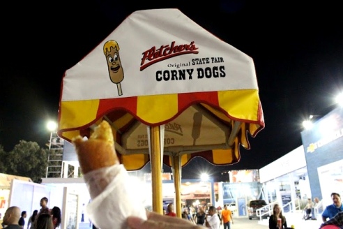 Fletcher's corn dogs are a staple and can be garnished with ketchup or mustard.