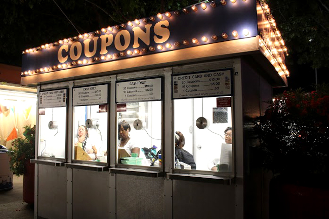 Coupon booths are located across the fair grounds and accept cash or credit.