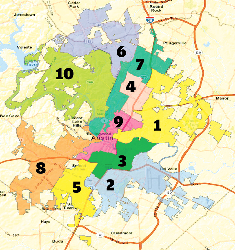 austin city council 10 districts