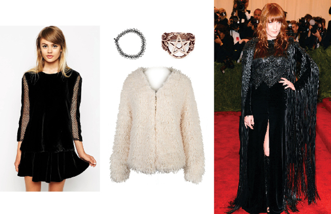 Photo courtesy of Us Magazine, Florence Welch at Met Gala  top: Asos Velvet Top With Mesh Sleeves & Tie Back , choker: Topshop, ring: Pamela Love Pentagram Ring, coat: Choies White Soft Faux Fur Coat