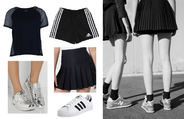 Photo shirt: Dorothy Perkins Ichi Mesh Panel Top, shorts: Adidas Athletic Shorts, skirt: American Apparel Tennis Skirt, sneakers: Nike Air Max, Adidas Superstar 2.0