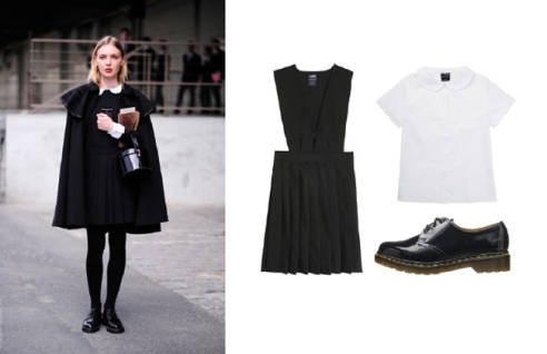 Photo courtesy of The Clothes Horse pinafore: French Toast Official School Wear V-Neck Pleated Jumper, blouse: Topshop Peter Pan Top, shoes: Dr Martens 1461 Oxford