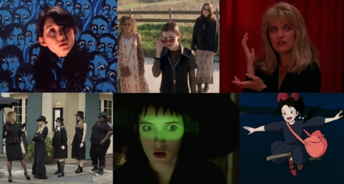 left to right: Hausu, The Craft, Twin Peaks, American Horror Story Coven, Beetlejuice, Kiki's Delivery Service