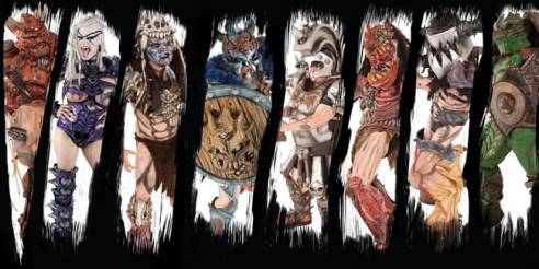 ​The brand-new GWAR lineup, from left to right: Sawborg Destructo, Vulvatron, Pustulus Maximus, Blöthar, Beefcake the Mighty, Jizmak da Gusha, Balsac the Jaws of Death, Bonesnapper​