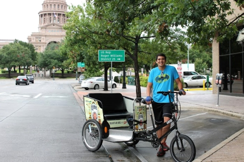 Joseph Garcia, a second-year student at The University of Texas, is a pedicab driver for the city of Austin.