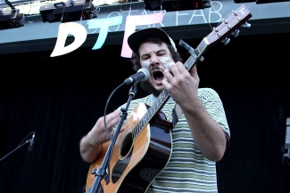Benton Allen, vocalist for Patch, lets out an intense note while performing.