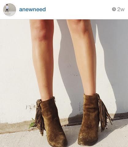 Ankle booties via Stephanie Gawlik, @anewneed