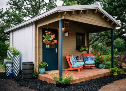 Tiny home recently built in the village. Photo courtesy of Mobile Loaves & Fishes.