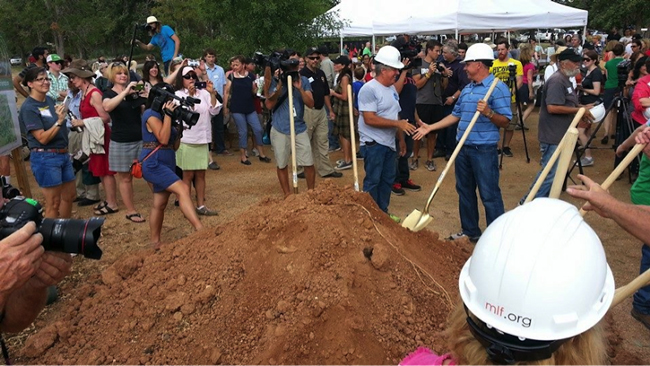 Breaking ground at the Community First! Village on August 27th, 2014. Photo provided by Mobile Loaves & Fishes.