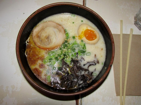 The Tonkotsu Original comes with chashu pork, an ajitama egg, wood ear mushrooms and scallions in a steaming broth with ramen.