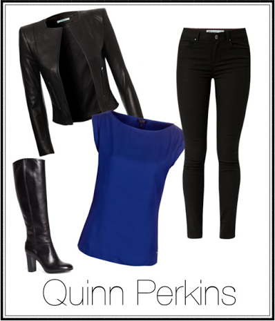 This leather jacket paired with a dark wash skinny jean is an example of Quinn's edgier look.