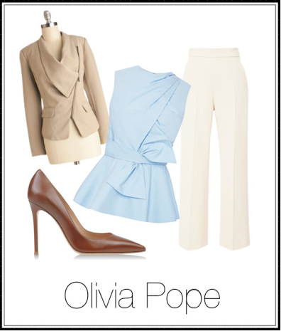 These cream colored tailored trousers paired with a pastel peplum capture some of the staples of Olivia Pope's wardrobe.