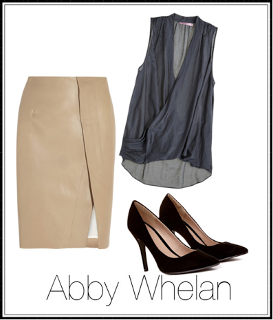 Here we have an example of Abby's feminine office attire with a camel colored pencil skirt and steel blue blouse.