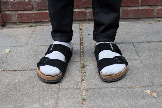 A strapped sandal with socks works with a cuffed jean as well as shorts.