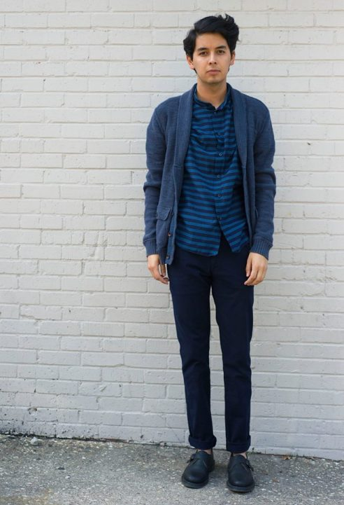 Fossil shawl cardigan, Zara Mao collar shirt, Zara dress pants, styled with Doc Martens monk strap shoe.