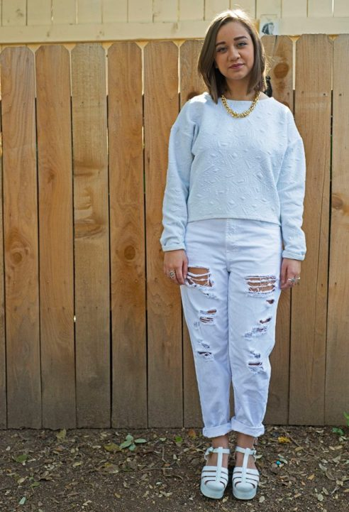 Textured white sweatshirt from Target, Topshop boyfriend jeans, styled with Steve Madden platform jellies.