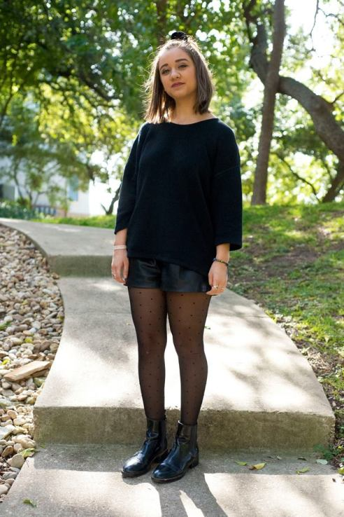 American Apparel reversible easy sweater, Zara black leather short, Urban Outfitters polka dot tights, styled with Zara patent leather Chelsea boot.