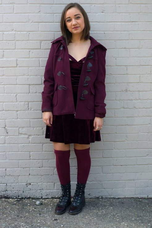 New York and Company coat, Forever 21 Velvet dress, Urban Outfitters knee-high socks, styled with vintage ropers.