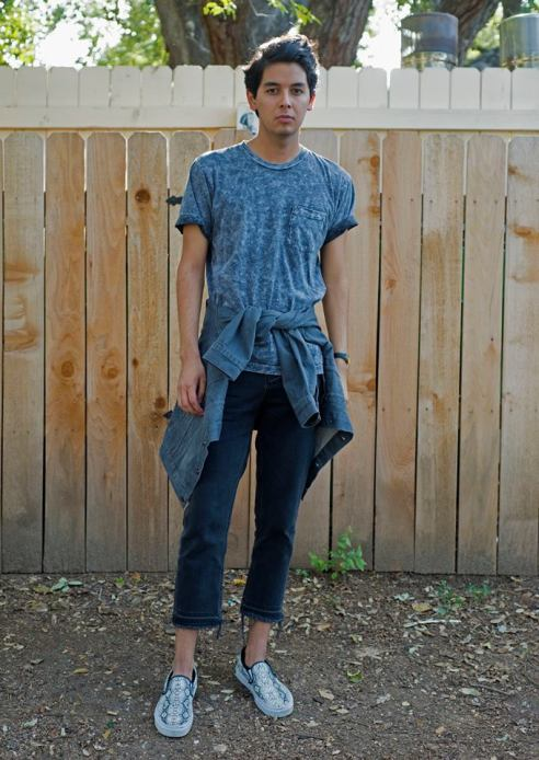 American Apparel acid wash t-shirt, UNIF cropped jeans, Levi's gray denim jacket from Pac-Sun, styled with snakeskin Vans.