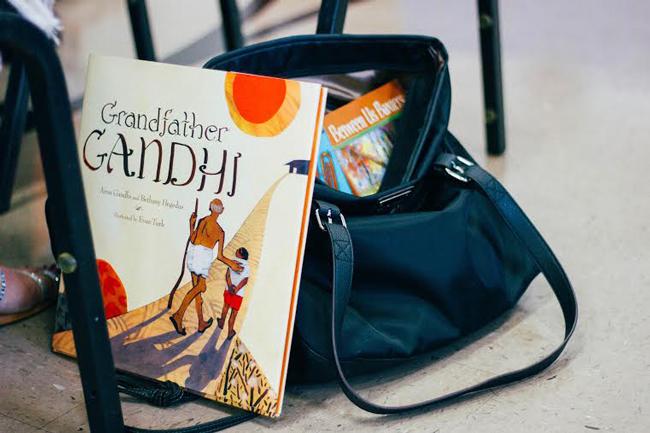 Arun Gandhi's children's book, Grandfather Gandhi, spotted in the crowd.