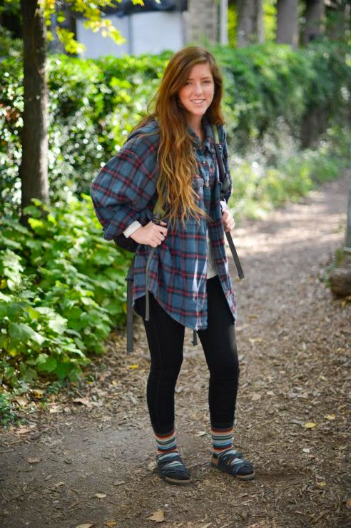 "An avid camper, Natalie Larch paired her birkenstocks with a thrift store flannel, Cotton On leggings, and patterned socks to create the perfect ""gone hiking"" look."