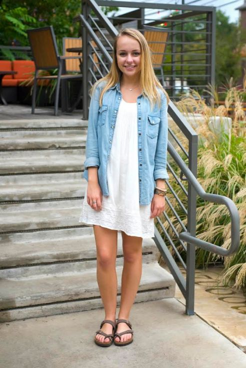 Sophomore Maddy Hill, wears a simple white dress from a Houston boutique, Gap chambray top, and Mayari Birkenstocks.