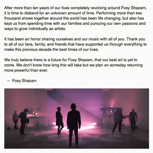 Foxy Shazam posted this photo to their Facebook page on Oct. 27 announcing their indefinite hiatus.