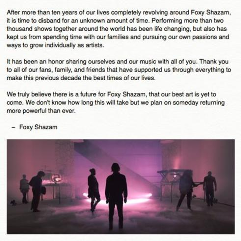 Foxy Shazam posted this photo to their Facebook page on Oct. 27 announcing their indefinite hiatus.​