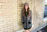 Samson keeps things comfy and cute with the help of an over-sized hooded sweatshirt layered over a military green sweater dress and a beige beanie. Pair the outfit with either some tights or knee-high socks and booties for the perfect fall look. Martini Holiday Tunic Dress- $32.80 Brown and Black Striped Hooded top- $46.00 Mocha beanie- $14.99 Chloe Quilt Wedge Knee High boots- $42.99